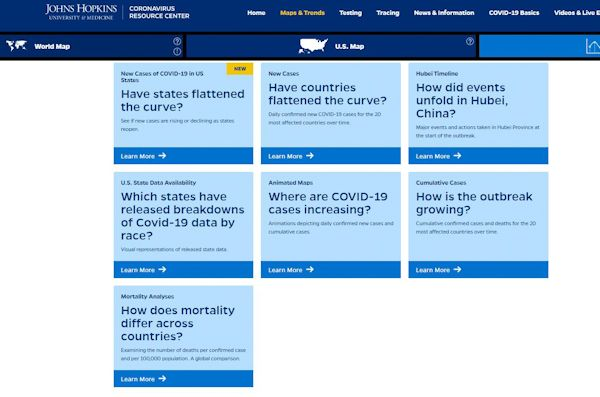 Johns Hopkins Coronavirus Map FAQ page