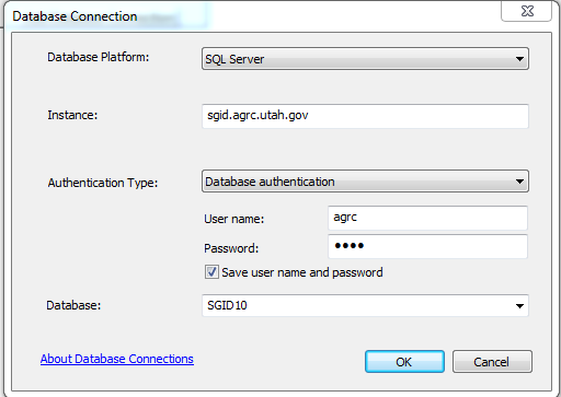 database connection dialog